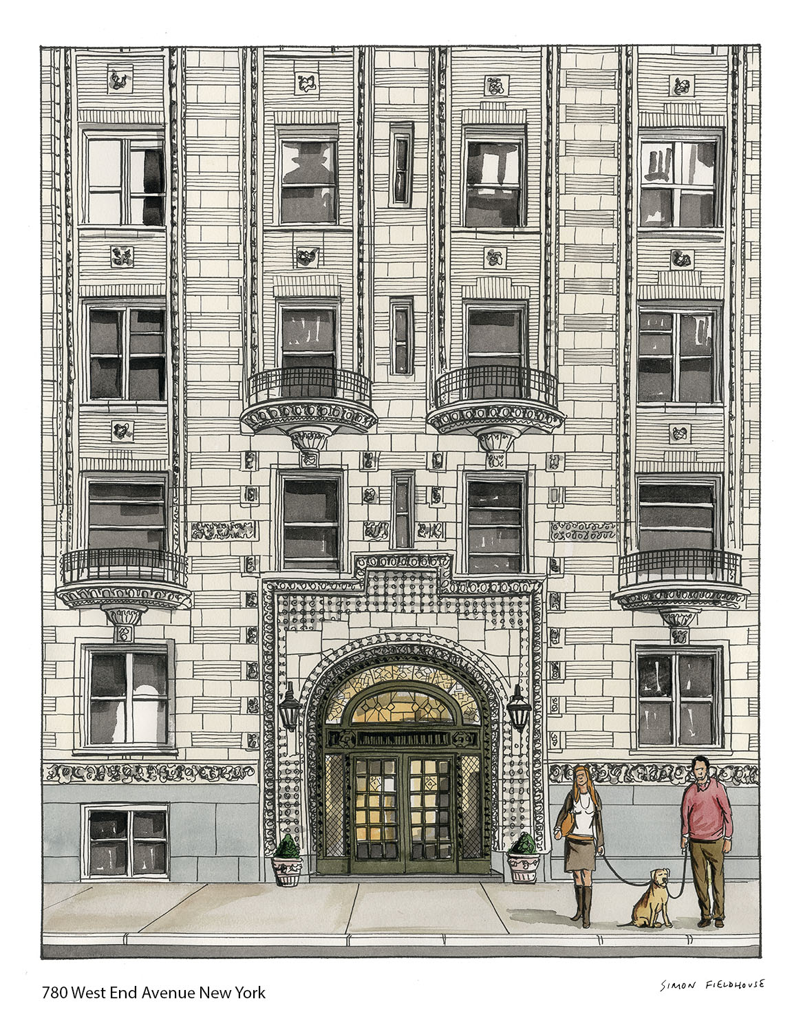 Brick Apartment Building Illustration. 780 West End Ave New York Avenue  Simon Fieldhouse