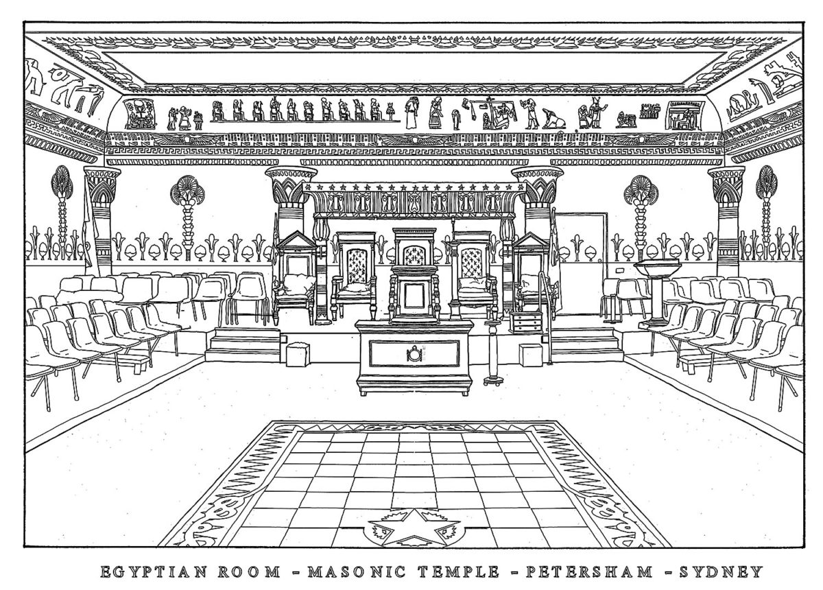 Egyptian Room Masonic Temple Petersham drawing