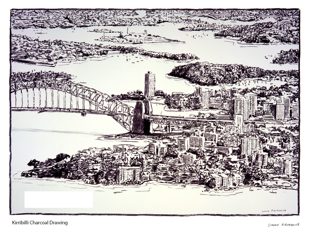 Kirribilli Aerial View Charcoal Drawing