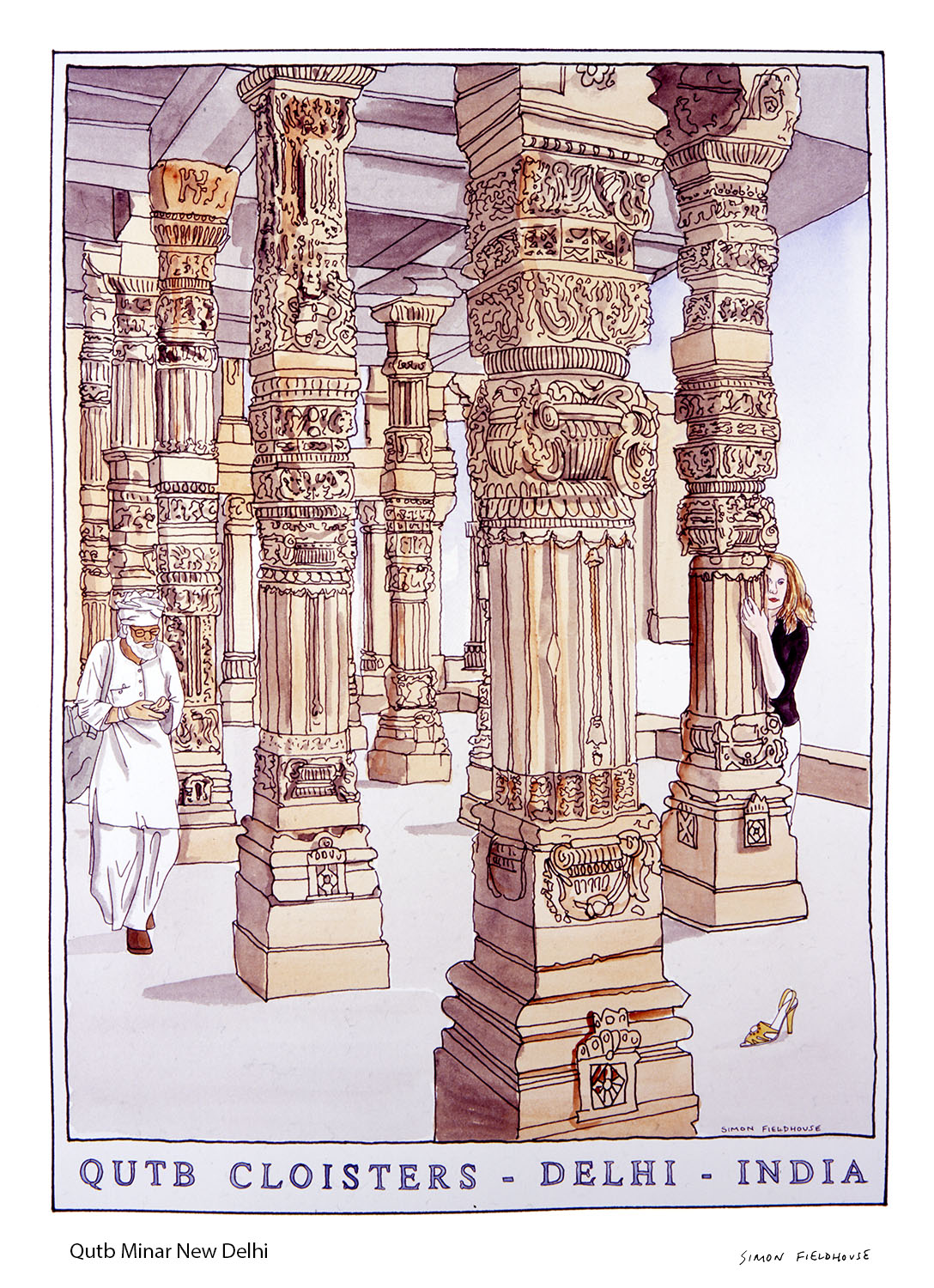 Qutb Minar New Delhi Watercolour
