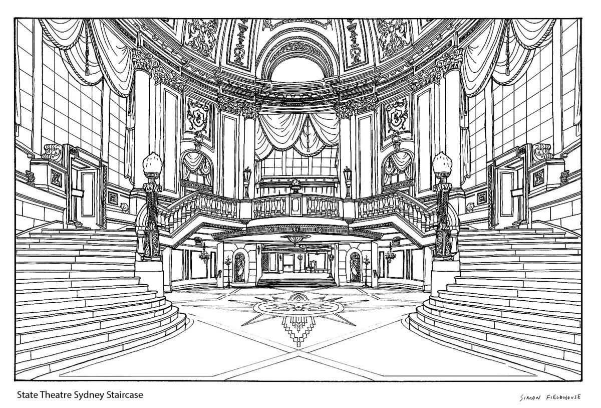 State Theatre Sydney Staircase Drawing