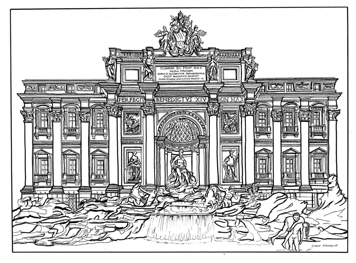 Trevi Fountain Rome drawing