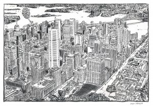 Sydney Aerial View Charcoal